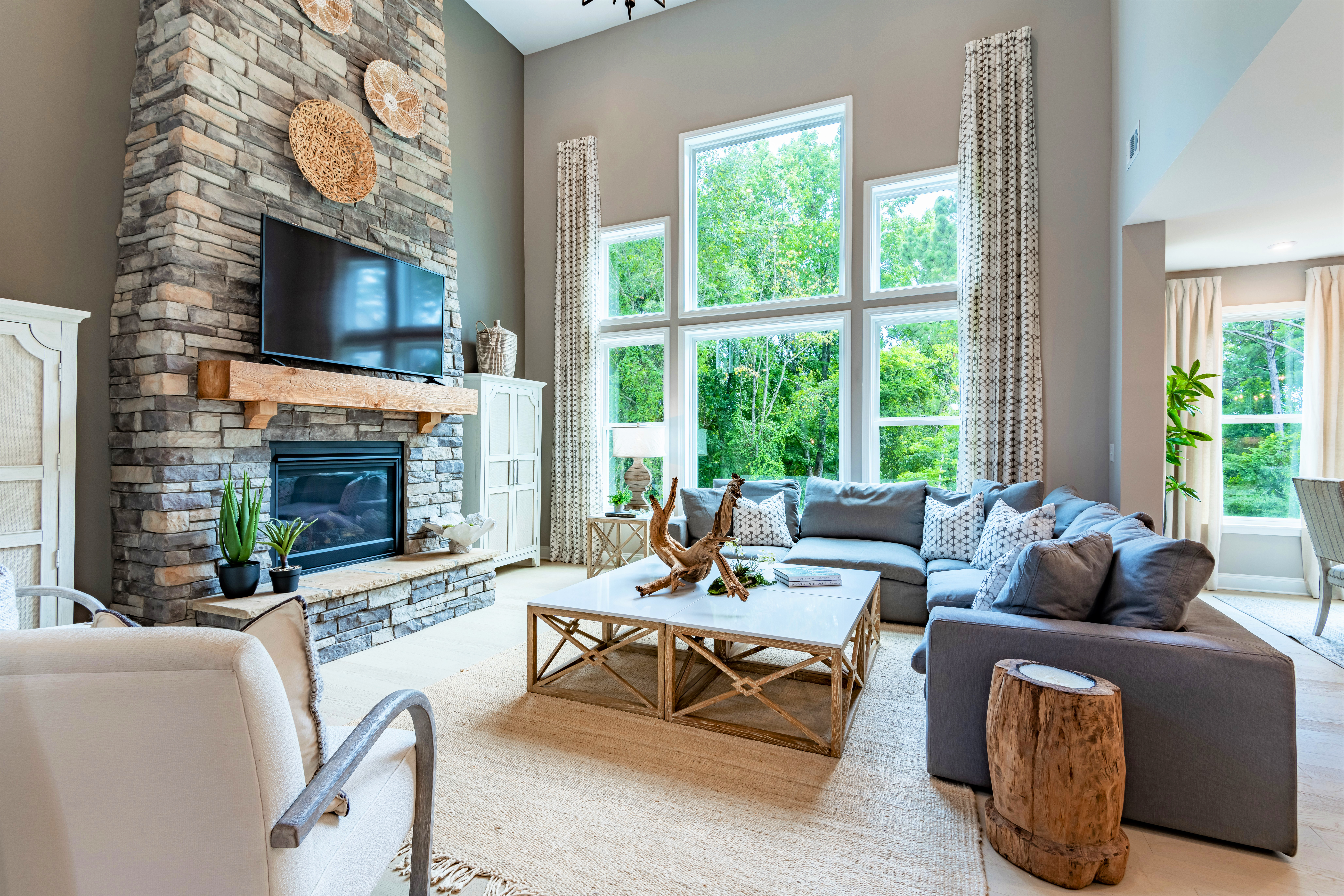 The grandin floorplan by fischer homes with two-story great room